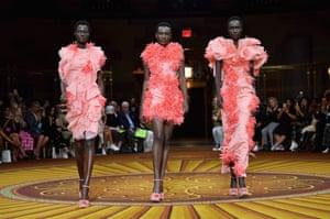 Models walk the runway at the Christian Siriano spring/summer 2019 runway show at Gotham Hall in New York City.
