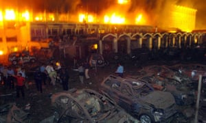 The Marriott Islamabad is engulfed in flames after the 2008 bombing. Qari Yasin was believed to be responsible.
