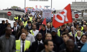 Air France staff demonstrate near the company headquarters in Roissy-en-France.