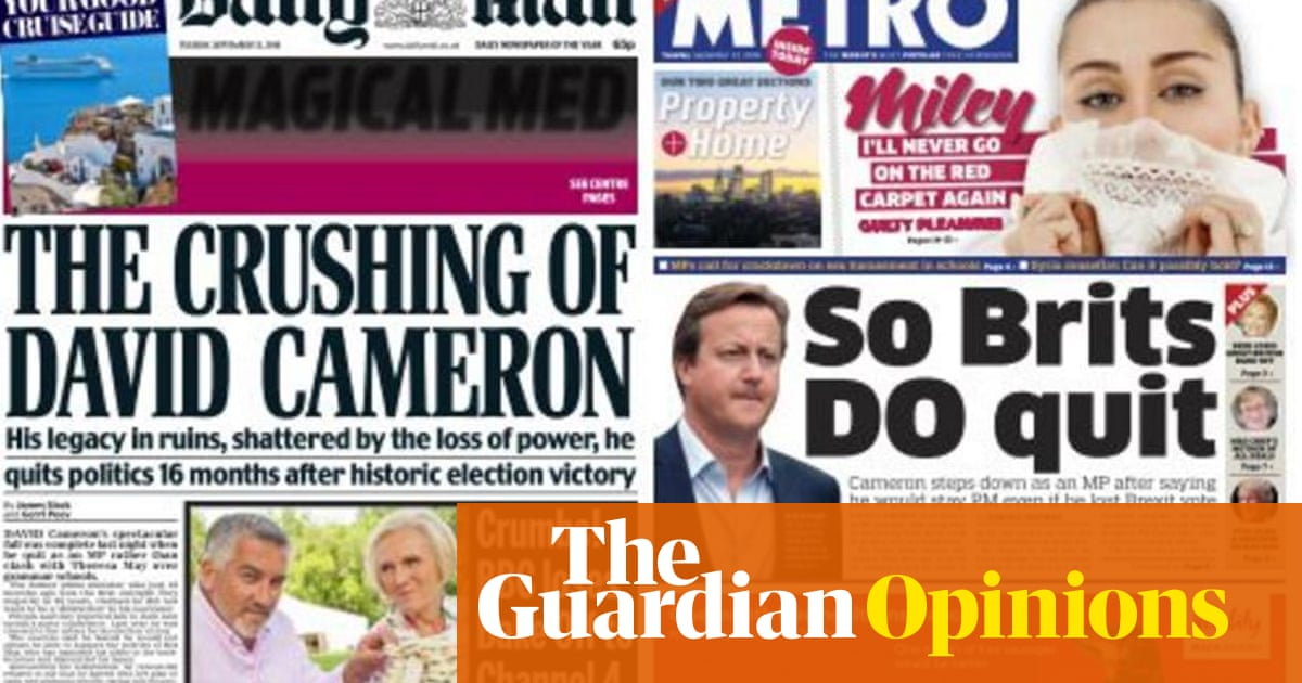 National newspapers deride David Cameron for quitting