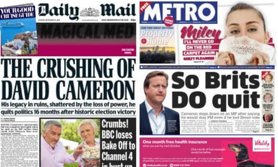 Farewell to a former prime minister from the Daily Mail and Metro.