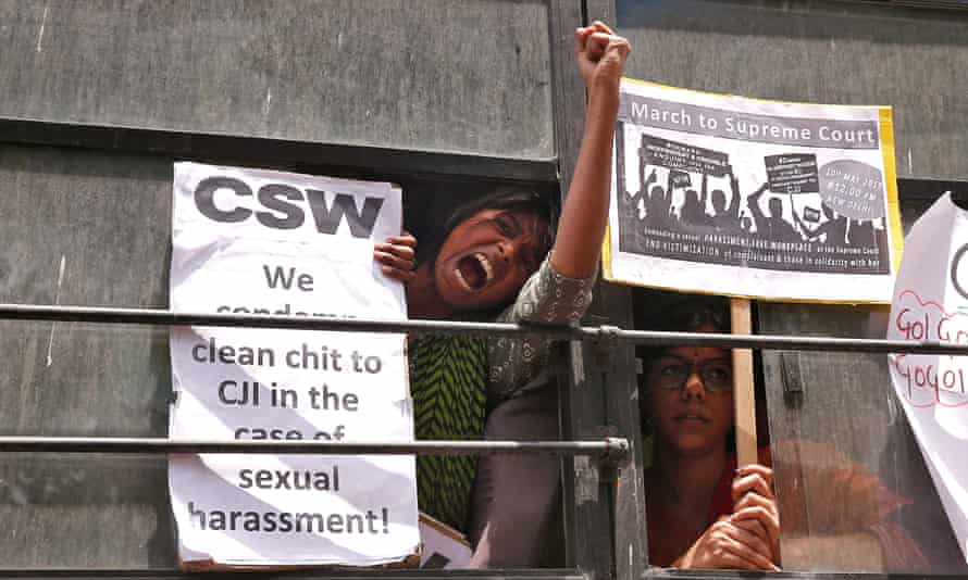 A demonstrator who was arrested during a protest over the dismissal of a sexual harassment complaint against Chief Justice of India Ranjan Gogoi