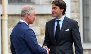 Prince Charles greets William Van Cutsem at the funeral of his father, Hugh, in 2013