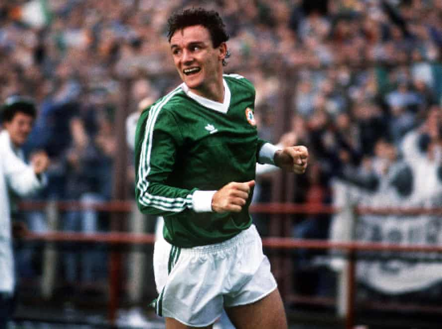 Kevin Moran in action for the Republic of Ireland against Bulgaria in October 1987.