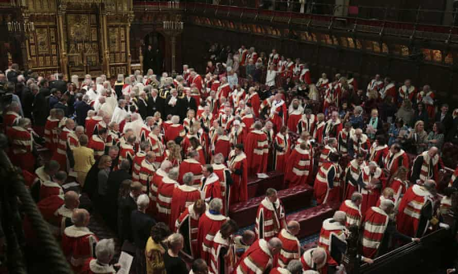 Members of the House of Lords and guests in the chamber ahead of the state opening of parliament in December 2019