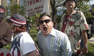 A Trump supporters yells at anti-Trump protestors in Anaheim.