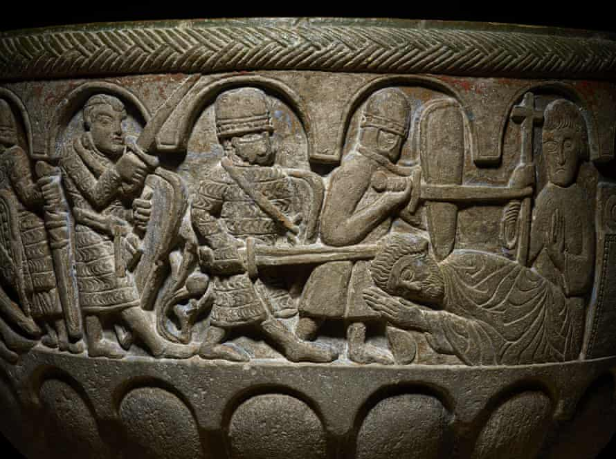 Detail of a baptismal font showing the murder of Thomas Becket from Lyngsjö church in Sweden