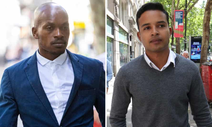 Nkulueko Zulu and Hani Gue outside a tribunal in central London where a judge ruled they had been subjected to 'highly offensive' racial harassment.