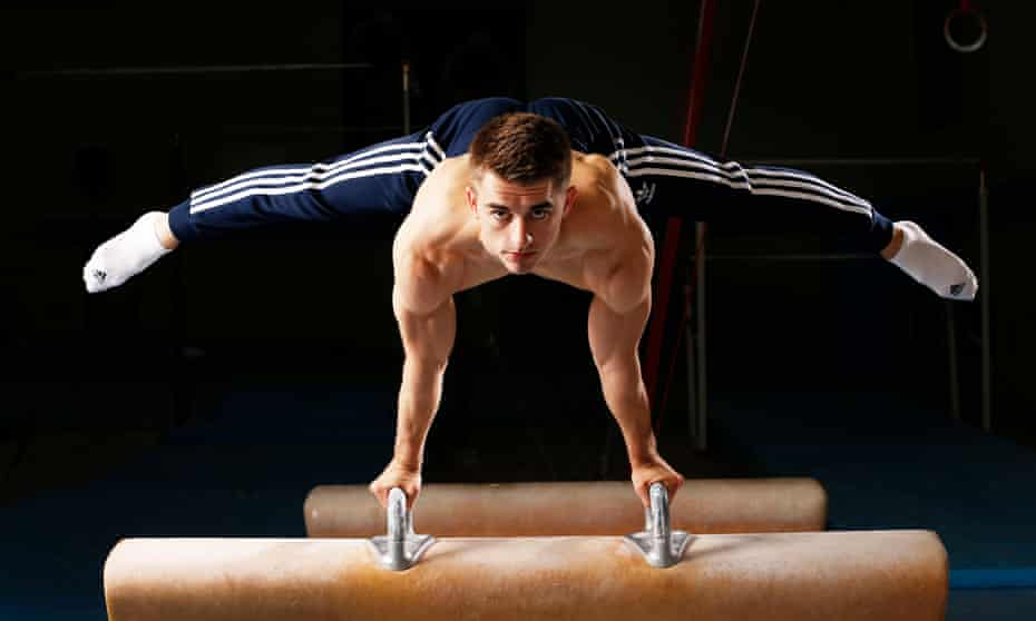 Max Whitlock practices on the pommel.