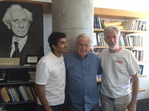 'The human voice is loaded with signals we can't even begin to map' … from left, the Egyptian artist Ganzeer with Chomsky and Lydon.