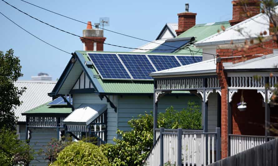 Solar panels on houses in Melbourne,