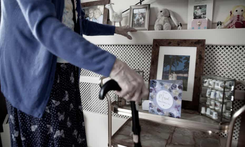 Mrs Phyllis Padgham in her room at St Cecilia's nursing home in Scarborough.