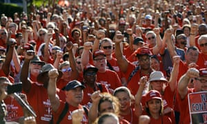 Union workers protest in front of the Palms casino-resort in Las Vegas in June.