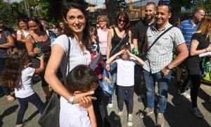 Virginia Raggi outside her son's school in Rome last week.