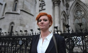 Jack Monroe outside the high court in central London