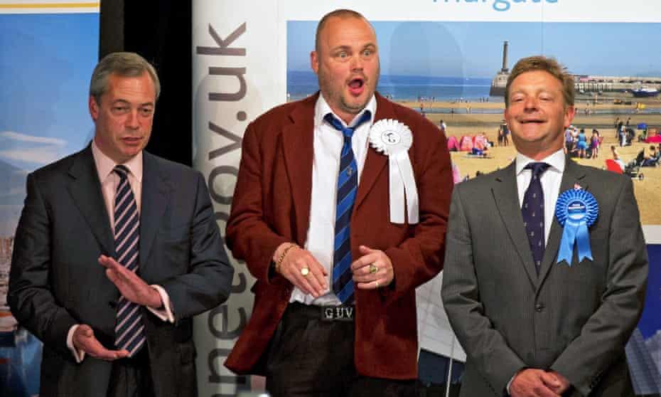 Craig Mackinlay with Nigel Farage and Al Murray, Margate, 8 May 2015