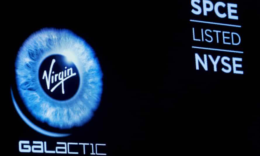 Virgin Galactic (SPCE) logo is displayed on a screen on the floor of the New York Stock Exchange in New York. The company began public trading.