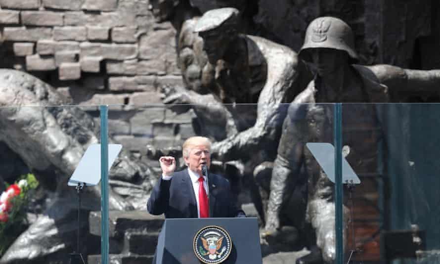 Donald Trump's speech in Warsaw, Poland, last year