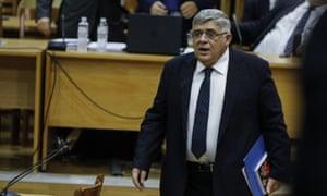 Nikolaos Michaloliakos, the head of Golden Dawn, in the Athens supreme court last year 2019.