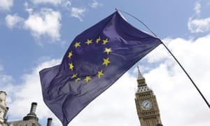 An EU flag in front of Big Ben seen during the March for Europe demonstration against Brexit.