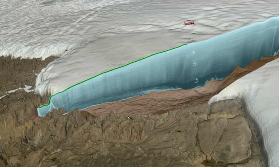 An illustration of the ice-filled crater discovered in Greenland.