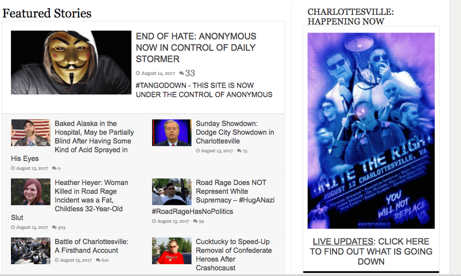 A screenshot of the homepage of the Daily Stormer carrying the 'end of hate' message