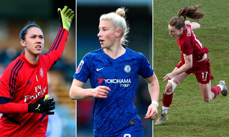 Manuela Zinsberger (left) has made a big difference in goal for Arsenal; Beth England (centre) is scoring vital goals for Chelsea and Niamh Charles scored Liverpool's first league goal from open play this season.