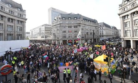 Extinction Rebellion protesters block Oxford Circus.