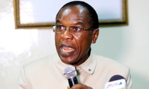 Francis Kateh, Liberia's chief medical officer addresses journalists during a press conference in Monrovia on Wednesday.