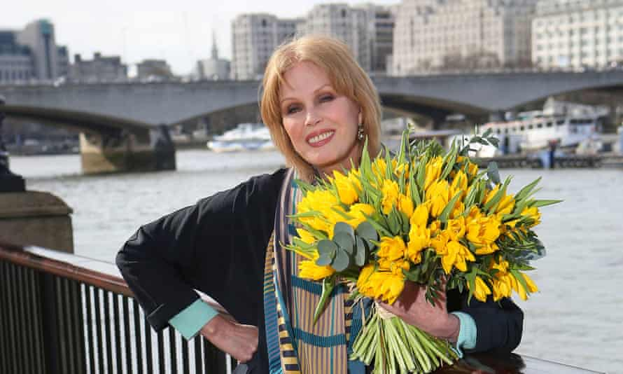 Joanna Lumley at the site of the proposed garden bridge across the Thames.