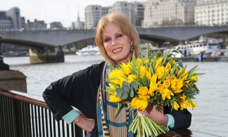 Joanna Lumley at the proposed site of the bridge