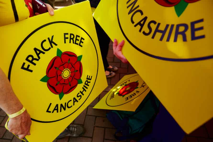 Anti-fracking protesters at County Hall, Preston, in 2015.