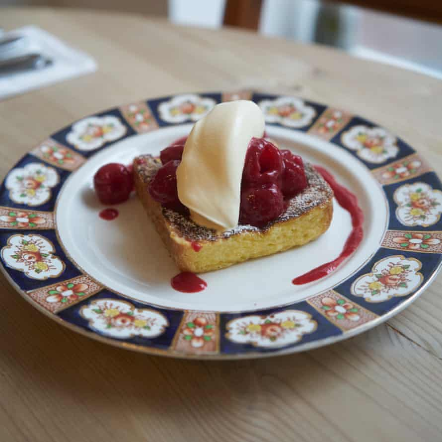 A 'thick wodge of French toast served with fresh raspberries, raspberry coulis and fresh clotted cream.'