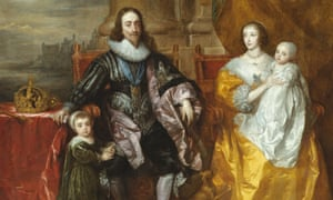 A detail of Charles I and Henrietta Maria with Prince Charles and Princess Mary (The Greate Peece) by Anthony van Dyck (1632), showing in Charles I: King and Collector at the Royal Academy, London.