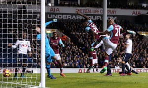 Michail Antonio gives West Ham the lead in the first half at White Hart Lane.