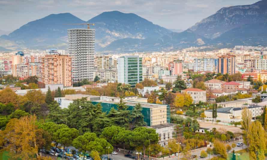 Skyline city: Tirana, capital of Albania.