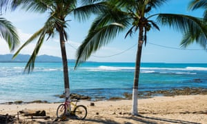 Beach and palm trees in Puerto Viejo de Talamanca, Costa Rica, Central America
