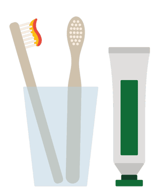 Illustration of toothbrushes in glass