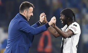 In happier times: Roberto D'Aversa and Gervinho celebrate after the game against Napoli in December 2019.