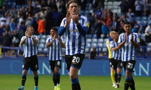 Adam Reach leads his teammates in applauding the fans after the home win over Barnsley