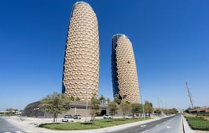 The exterior of Al Bahr towers in Abu Dhabi.