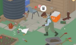 Screenshot from Untitled Goose Game, a game where you are a horrible goose.
