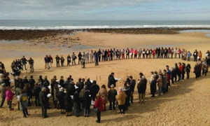 A memorial event for Samuel on the beach where his body was found four days earlier.