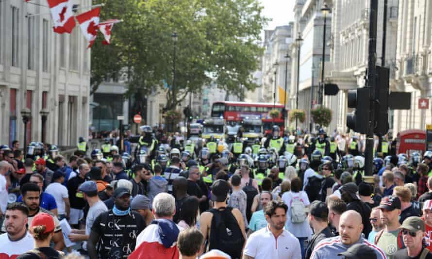 Demonstrators gather at Trafalgar Square, central London