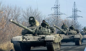 Pro-Russian forces move towards Donetsk , eastern Ukraine, in November 2014.