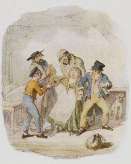 Nancy, in a scene from Dickens's 1837 novel Oliver Twist.