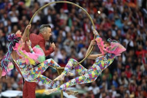 Robbie Williams performs during the opening ceremony of the 2018 World Cup at the Luzhniki Stadium.