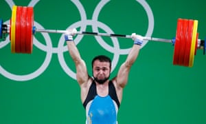 Nijat Rahimov of Kazakhstan sets a new world record attempt in the clean and jerk, having only returned from a two-year doping ban last year.
