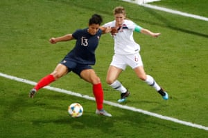 France's Valerie Gauvin gets ready for her crafty backheel.