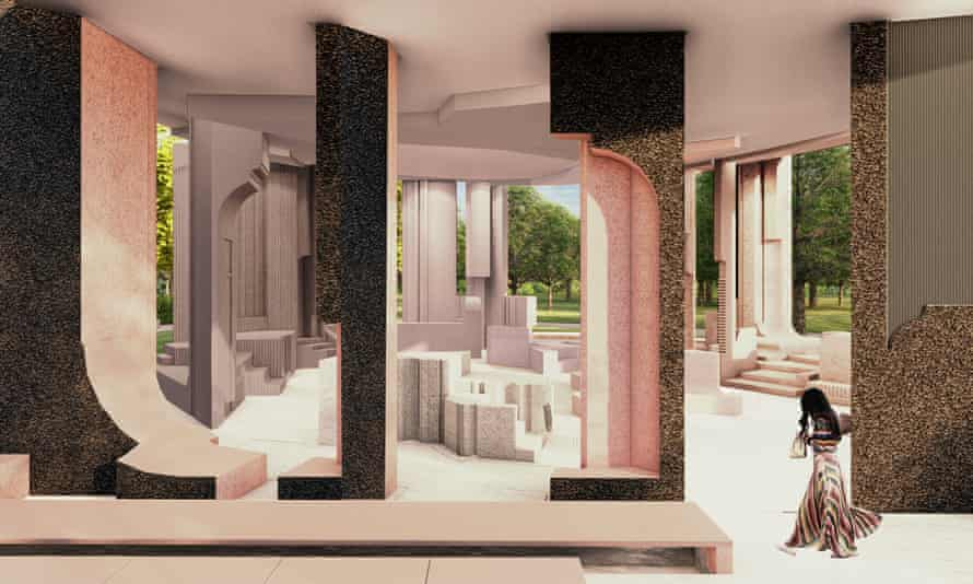 An interior visualisation of Counterspace's pavilion design.